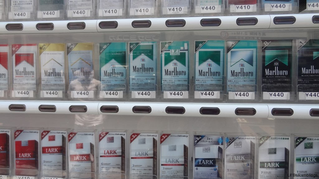 A closeup of a cigarette vending machine