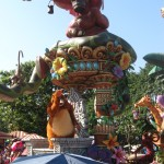 Monkey characters from Tarzan on a jungle float