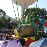 Tinkerbell in her balloon dancing in the parade