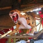 The sculpture of an angry tiger in Tarzan's tree house